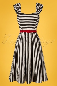 50s Jill Striped Swing Dress in Black and White
