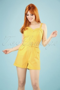 Collectif Clothing 27478 Jay Plain Playsuit in Yellow 20180816 006W