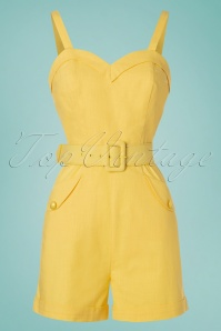 Collectif Clothing 27478 Jay Plain Playsuit in Yellow 20180816 001W
