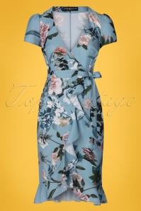 50s Rori Floral Wrap Dress in Blue