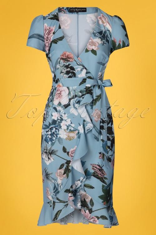 Little Mistress 27815 Blue Floral Pencil Dress 20190404 005W