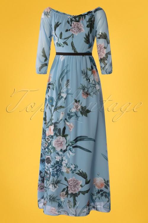 Little Mistress 27816 Blue Floral Maxi Dress 20190404 004W