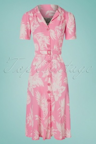 40s Lisa Dress in Pink Hawaii