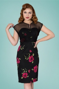 50s Karen Floral Pencil Dress in Black