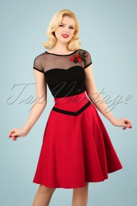 50s Rockin Swing Skirt in Deep Red
