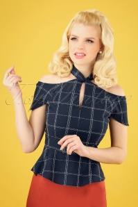 50s Chill Check Peplum Top in Navy