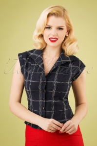20s Chill Checks Blouse in Navy