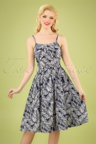 50s Palm Days Dress in Navy