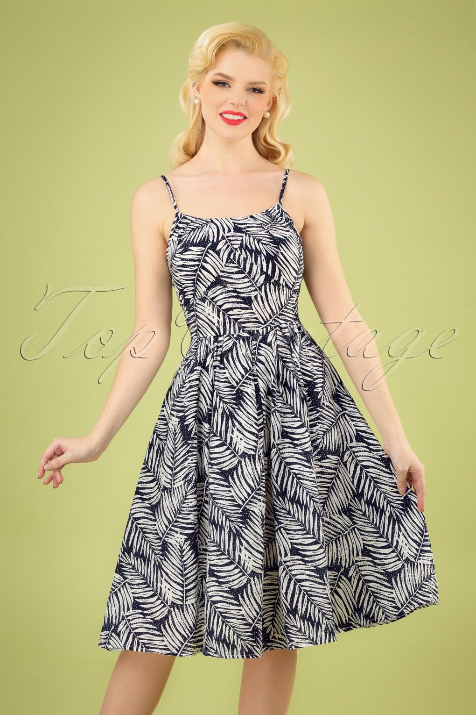 Retro Tiki Dress – Tropical, Hawaiian Dresses 50s Palm Days Dress in Navy £29.47 AT vintagedancer.com