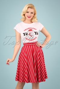 60s Logo Stripes Skirt in Date Red
