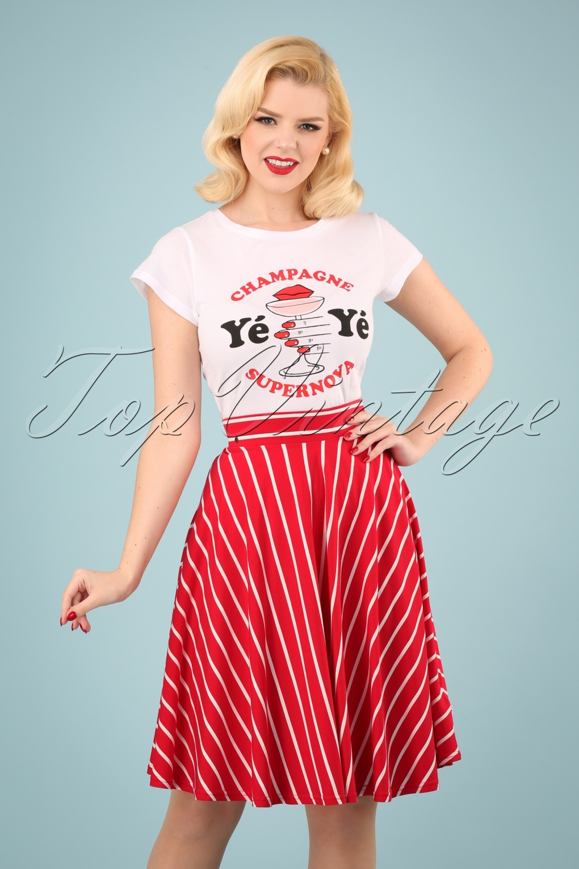 Sailor Dresses, Nautical Theme Dress, WW2 Dresses 60s Logo Stripes Skirt in Date Red �61.82 AT vintagedancer.com