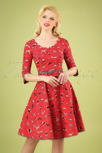 50s Swing A Bow Dress in Street Dogs Red