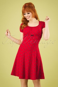 50s Swing Along Dress in Street Swallow Red