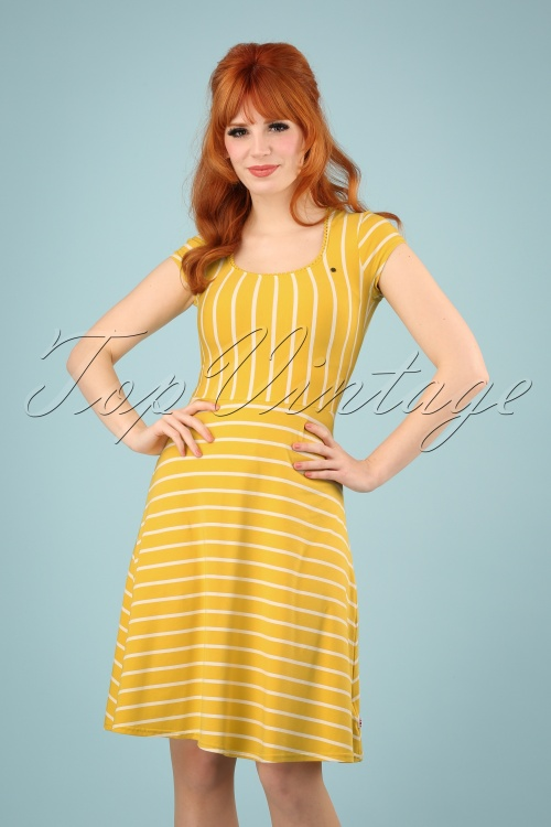 Blutsgeschwister 27290 Yellow Logo Stripe Dress 20190208 01W