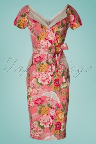 TopVintage exclusive ~ 50s Polly Crane Birds Pencil Dress in Pink