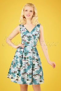 50s Nissi Swing Dress in Hawaii Blue
