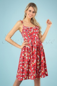 50s Gin Fizz Dress in Coral Pink