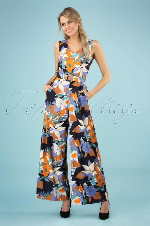 Closet 29031 Geometric Floral Wide Leg Jumpsuit 20190110 002 020W