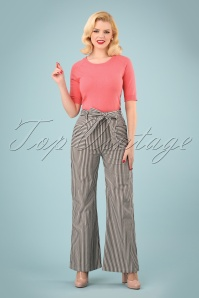 40s Bella Striped Trousers in Black and White