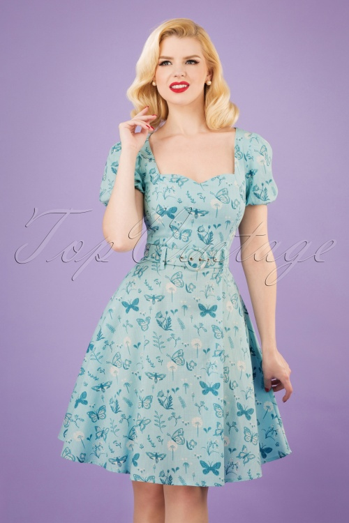 Collectif Clothing 27470 50s Paisley Butterfly Swing Dress 20190215 1W