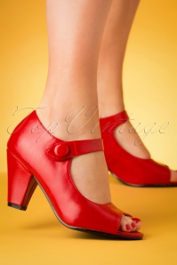 50s Sharon Peeptoe Heels in Red
