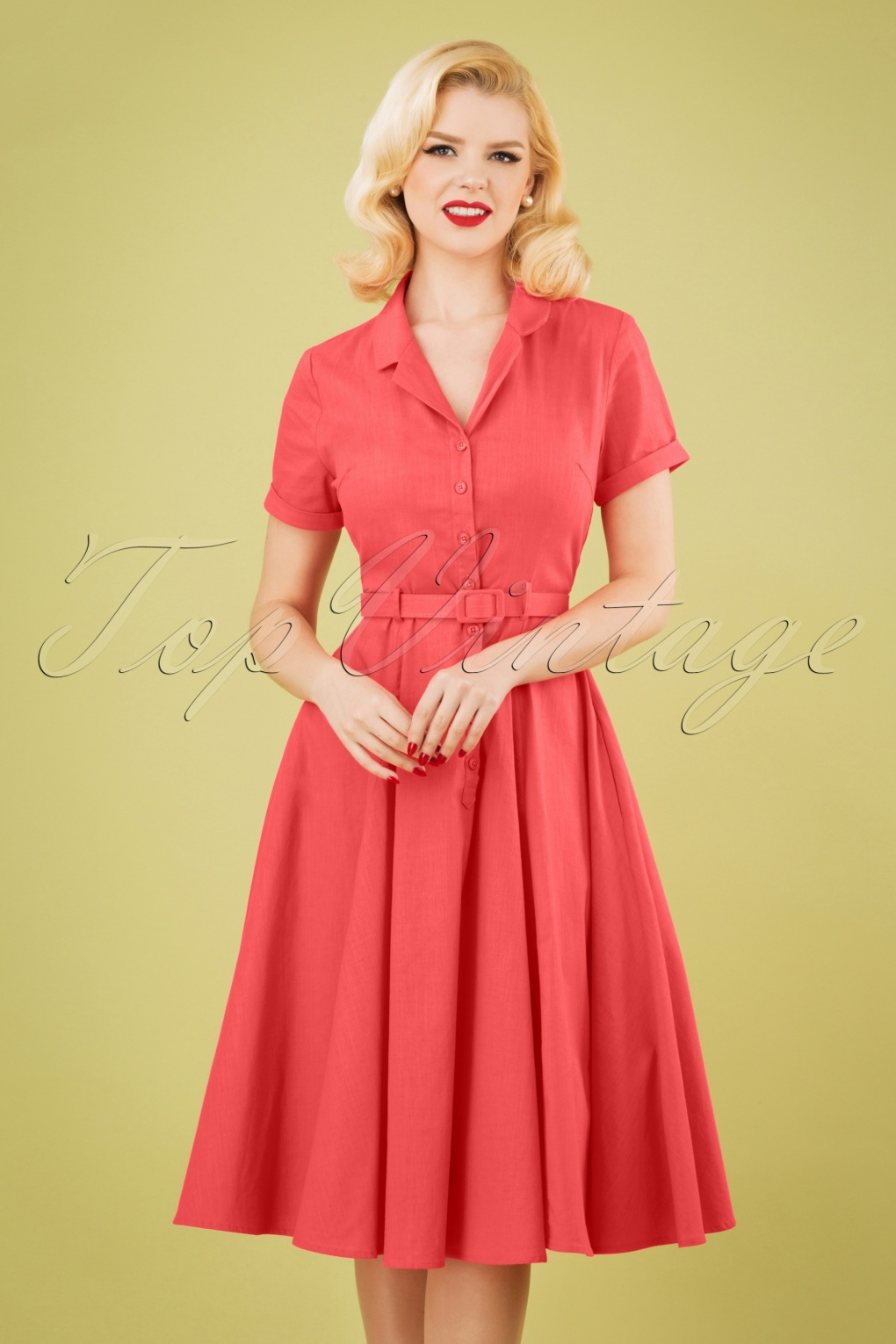 1950s Plus Size Dresses, Swing Dresses 50s Caterina Swing Dress in Coral Pink £65.06 AT vintagedancer.com