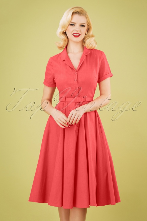 Collectif Clothing 27626 Caterina Vintage Swing Dress in Coral 20190205 1W