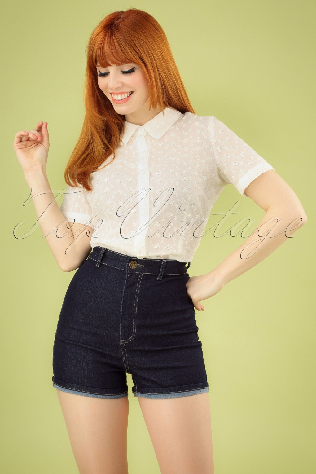 1950s Pinup Shorts, Retro Shorts 50s Lily Denim Shorts in Navy £23.63 AT vintagedancer.com