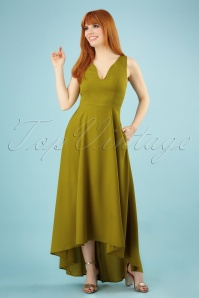 Bright and Beautiful Isabella Plain Maxi Dress Années 70 en Vert Olive