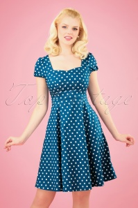 Claudia Polkadot Swing Dress Années 50 en Bleu Paon