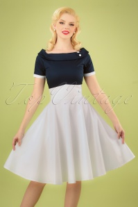 50s Darlene Swing Dress in Navy and White
