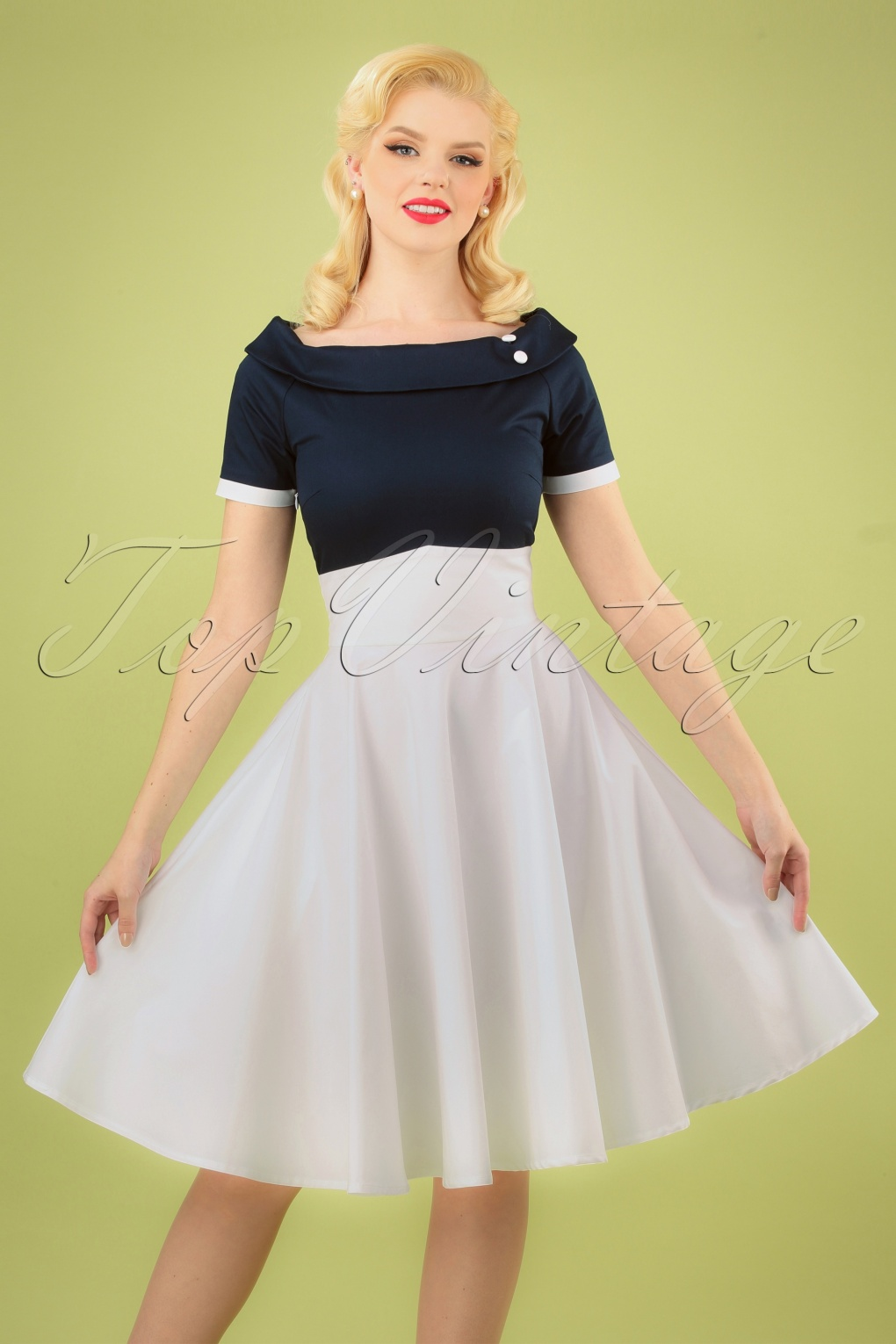 50 Vintage Inspired Clothing Stores 50s Darlene Swing Dress in Navy and White £51.76 AT vintagedancer.com