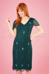 GatsbyLady 20s Downton Abbey Flapper Dress in Teal