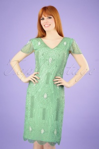 20s Downton Abbey Flapper Dress in Mint