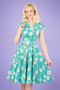 50s Nancy Floral Swing Dress in Turquoise