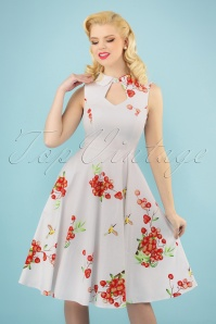 50s Berry Blast Swing Dress in White