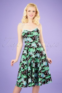 50s Glorious Tropical Swing Dress in Black