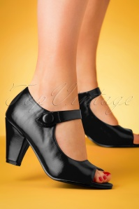 50s Sharon Peeptoe Heels in Black