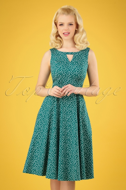 Hearts and Roses 29015 Green Polkadot Swing Dress 20190315 005 020W