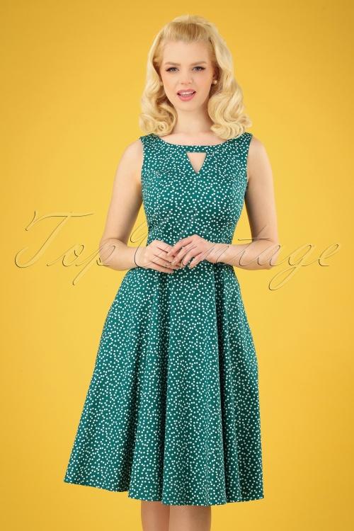 Hearts and Roses 29015 Green Polkadot Swing Dress 20190315 005 020W