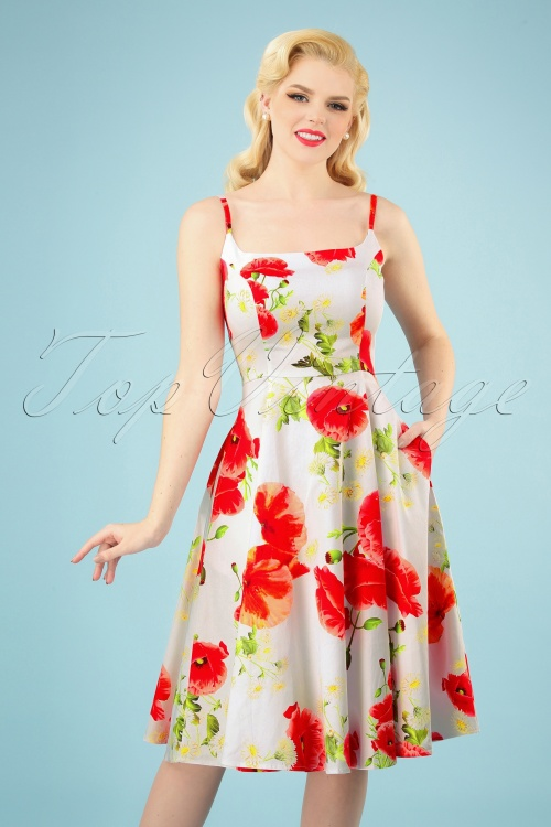 Hearts and Roses 29018 White Poppy Floral Swing Dress 20190305 006 020W
