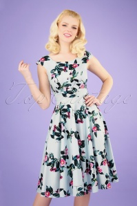 50s Mademoiselle Floral Swing Dress in Pale Blue