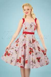 50s Deborah Floral Swing Dress in Pink