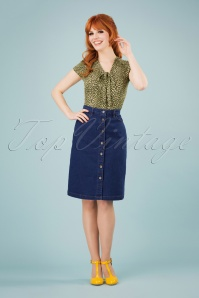 60s Angie Denim Skirt in Jet Blue