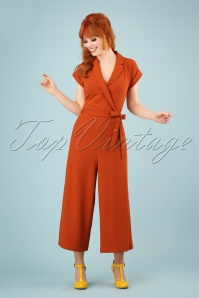 King Louie 60s Doris Culotte Jumpsuit in Clay Red