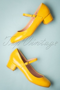 Lulu Hun 60s Mary Jane Block Heel Pumps in Yellow