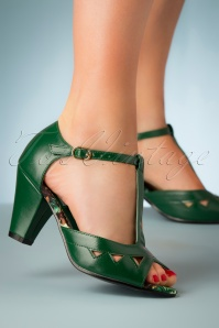 50s Veronica Peeptoe Heels in Forest Green