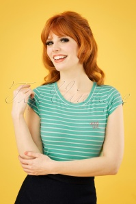 Mademoiselle YéYé 60s Casual Elegance Top in Mint and White Stripes