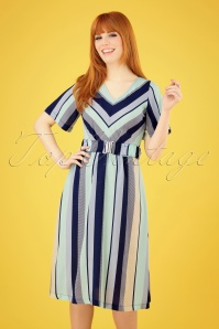 60s Dinner On The Boat Dress in Moonlight Stripes