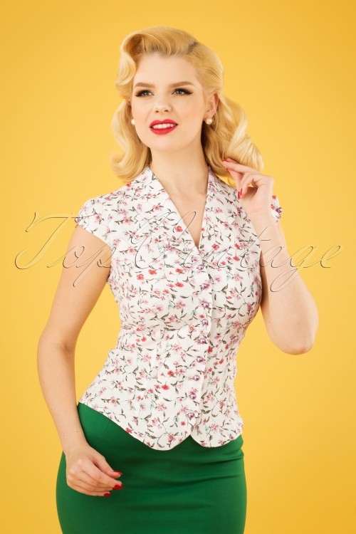 Miss Candyfloss 28654 White Floral Blouse 20190220 1W